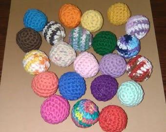 6 crochet cat toy balls