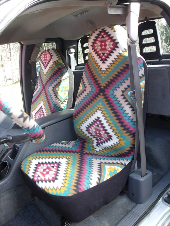 A Set Of Polar Fleece Indian Blanket E Print Seat Covers Saddle Heavy Duty