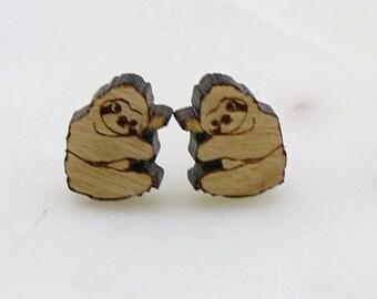 Wood Cute small sloth earrings - Laser Cut Stud Earrings - Wooden earrings - Animal jewelry - Australian Seller