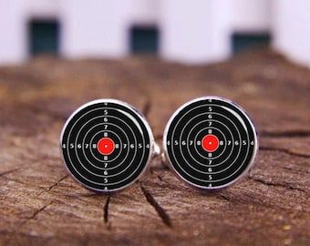 Target tie clips, Target cufflinks, Target Cuff links, Hunter cuff links, Gun lover cufflinks, custom any photo or text, wedding cufflinks