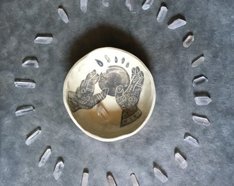 Fortune Teller Bowl: Small Ceramic Hand-built Bowl with Sgraffito Design