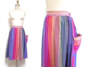 Vintage 1980s Rainbow Striped Skirt | Colorbloked Cotton Full Skirt | size small