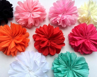 "Five 3"" Dry Crinkled Blossom Flowers - CHOOSE Colors"