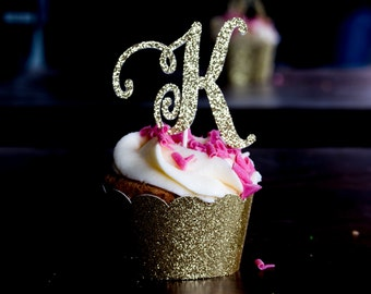 Initial Cupcake Toppers Baby Shower Cupcake Toppers, Baby Girl Shower Decoration, Initial Letter Party Picks, Gold Birthday Party Ideas