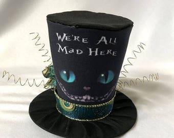 Tiny Top Hat: The Cheshire Cat Black creepy mad hatter wonderland bizarre macabre  dark haunted strange cosplay costume party Lolita