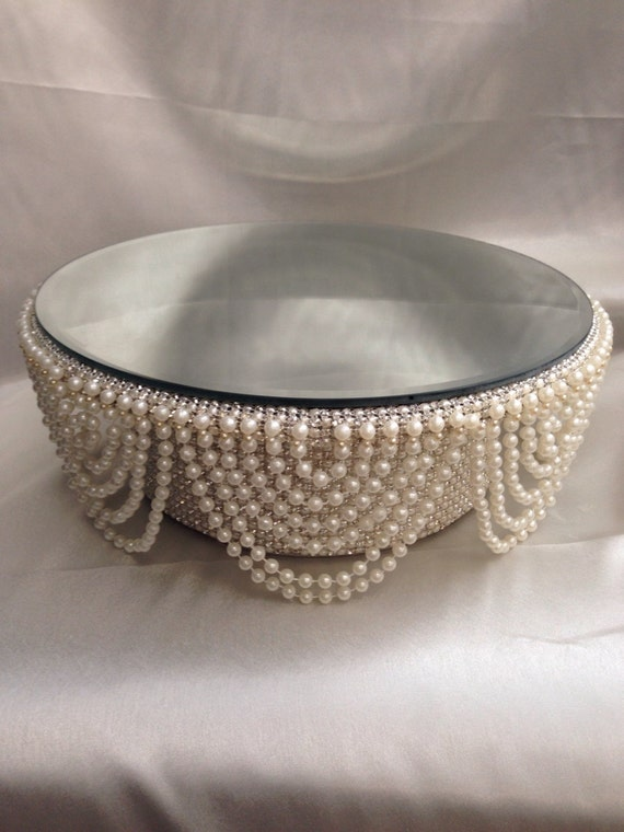 Pearl and crystals Drape design wedding cake stand - round or square all sizes & Pearl and crystals Drape design wedding cake stand round