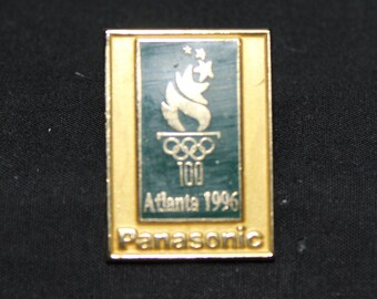 1996 Summer Olympic Pin Panasonic Advertising, Metal pin and Tie Tack holder, Colorful Rings, Atlanta, Gold Tone Metal