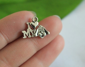 wholesale~10pc  I Love My Dog Charms Pendants Antique Silver Tone 18x13mm