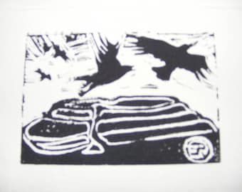Crows Over the Hillfort. lino print