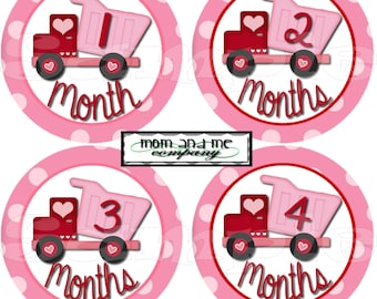 Precut 12 Monthly Stickers Baby Shower gift 1-12 Month set Infant Milestone stickers Onepiece stickers baby Girl Construction Trucks decals