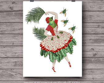 Bird Dancer, whimsical collage art, anthropomorphic animal print, cactus, plants, botanical, insects, instant download wall art, home decor