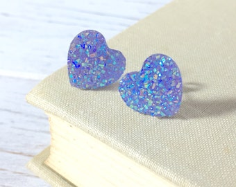 Faux Druzy Heart Earrings, Sparkly Earrings, Lavender Heart Earrings, Purple Heart Earrings, Stainless Steel, KreatedByKelly (SE1)