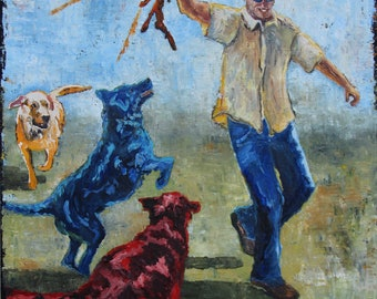 Stick Almighty! Painting of dogs at play