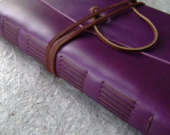 "Large leather journal, 6"" x 9"", Vintage style leather journal, leather sketchbook, travel journal"