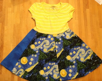 Starry starry night dress, Van Gogh, art birthday outfit, art dress, vincent Van Gogh , museum outfit, 12-18 month, 2t, 3t, 4t, 5t, 6