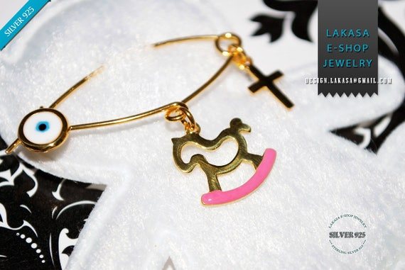 Pink Enamel Baby Brooch Pony Carousel Sterling Silver Gold plated Handmade Jewelry Cross Eye Happy Shower Day Religious Baptism Newborn Girl