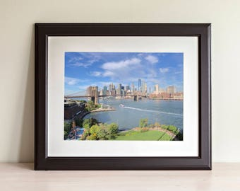 Lower Manhattan Skyline with Brooklyn Bridge - Photography Artwork - INSTANT Digital Download Wall Poster Art