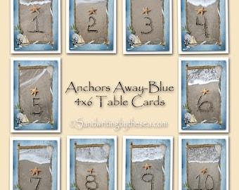 Anchors Away Number Cards 1-5- beach- starfish- nautical wedding