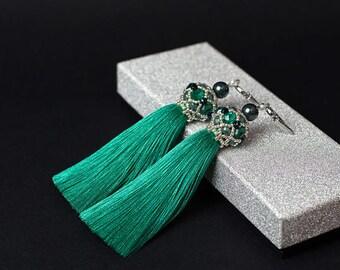 Turquoise earrings statement earrings boho dangle earrings silk tassel earrings fringe earrings handmade earrings tassels jewelry bohemian
