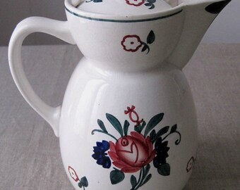 Nice old jug in earthenware of Digoin Sarreguemines. Jug. Pitcher. Pichet.Verseuse.Kitchen, Decorative, french Vintage.Cadeaux