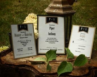 "Modern Black and Gold Wedding Invitation - ""The Piper Suite"" - Black and Gold Invitation - ""Piper Suite"""