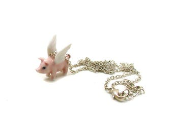 Flying Pig Necklace, Dainty Pig Charm, Pig Jewelry, Flying Pig Charm, Baby Pig Necklace, Piggy Necklace, Tiny Pig, When Pigs Fly Necklace