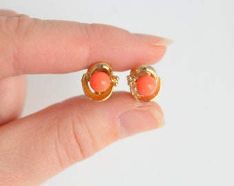 Vintage Earrings, Orange Earrings, Orange & Gold Earrings, Vintage Orange Earrings, Clip On Earrings, Non Pierced Earrings, Orange and Gold