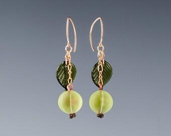 Glass Gooseberry Earrings lampwork bead fruit jewelry hand blown glass art birthday gift, Mother's Day gift for gardener, gourmet cook, chef