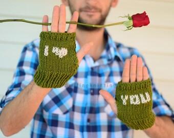 Valentines Day Gift, Mens Fingerless Gloves,I Love You, Men Gloves, Arm Warmers,Gift For Him, Under 25