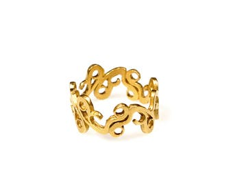 Gold Filigree Ring, Gold Lace Band Ring, Gold Plated Lace Ring, Gold Lace Crown Ring, Gold Plated Band Ring.