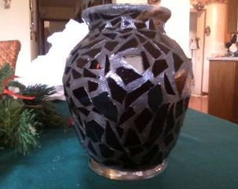 Black Stained Glass Mosaic Vases! You choose color or color combination!