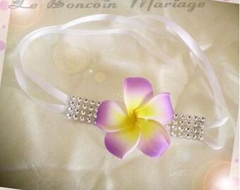 Frangipani flower and rhinestone bracelet