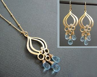 Aquamarine gemstone necklace, Chandelier necklace, wedding jewelry set, Bridal jewelry, satellite chian necklace, gift for bridesmaids