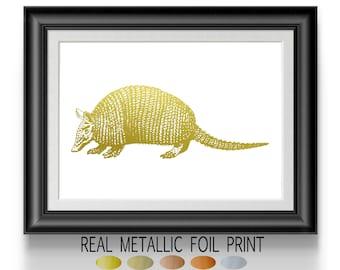 Armadillo Texas Art, Gold Foil Print, Nature Animal Poster