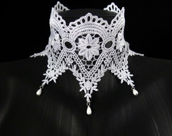 White Lace Choker - Wide and beaded - Bridal, Wedding, Ice queen, Lingerie, Boudoir, Keyhole