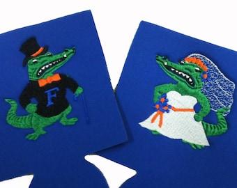 Florida Gators Wedding Can Coolers  Albert or Alberta Your Choice