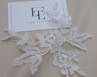 Ivory Lace applique, Ivory lace, French Chantilly lace applique, 3D lace, bridal applique, Applique M0038