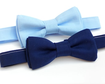 Navy blue bow tie for boys, mens blue bow tie, light blue bow tie, toddler bow tie, 1 year old boy birthday outfit, boys first birthday