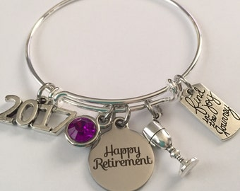 retirement bracelet-happy retirement bracelet-find joy in the journey bracelet-2017 or 2018 retirement bracelet