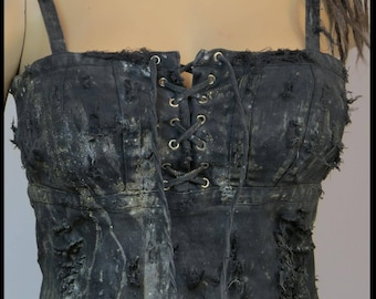 Post APOCALYPTiC DRESS Black LACE UP Dress Mad Max Dress Black Dress Size MEDiUM