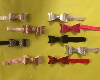 Leather Hair Bow, Leather Bows, Leather Hair Clip, Baby Toddler Bows, Girls Bows, Leather Headband, Bow Headband, Girls Hair Bow, Double Bow