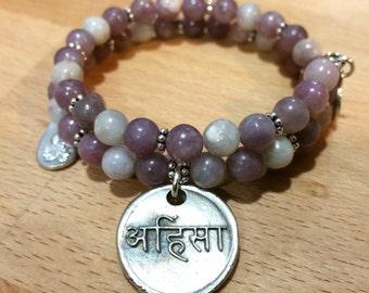 Sanskrit Gemstone Bracelet Boho Festival Jewelry Ahimsa Do No Harm