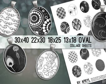 Black and White Dark Grey Patterns Digital Collage Sheet 30x40 22x30 18x25 13x18 Oval Image for Glass and Resin Pendants Cameo Craft