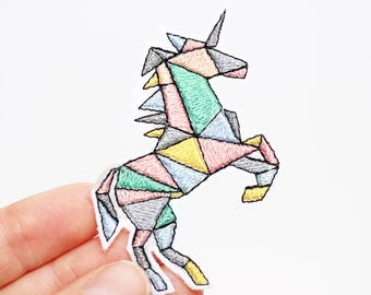 Unicorn Patch - Iron On  - Pastel Embroidered Patch