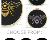 Bumblebee embroidery kit, bee hand embroidery pattern, choose your colour, DIY embroidery hoop art, bee needlecraft, modern hand stitching