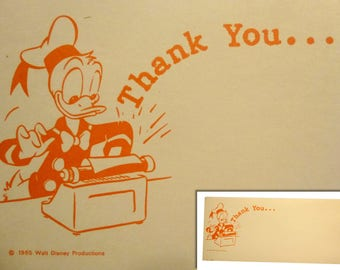 """1965 Walt Disney Productions Ephemera. Donald Duck THANK YOU. 8.25"""" by 4"""" Card Stock. Great Disney Collectible. Real Vintage. You Get 12!"""