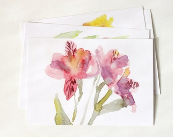 Set of 2 watercolor flowers cards