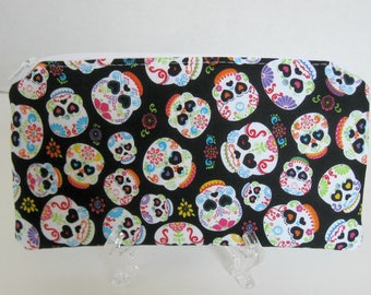 Sugar Skulls Zippered Pouch -  Day of the Dead Zip Case - Cash Holder - Better than Cash Envelope - Money Management