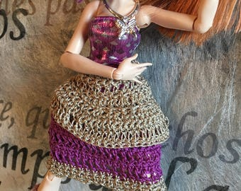 "Monster Ever After ""Tango Blueberry"" crochet cotton and silk dress"