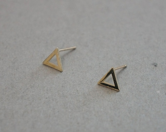 10K Gold triangle earrings, solid Gold, 10k real Gold - TG084
